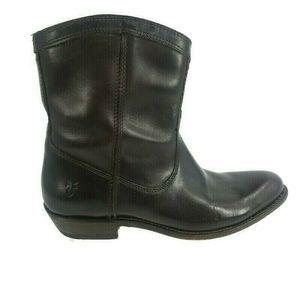 Frye Dark Brown Leather Cowboy Western Ankle Boots
